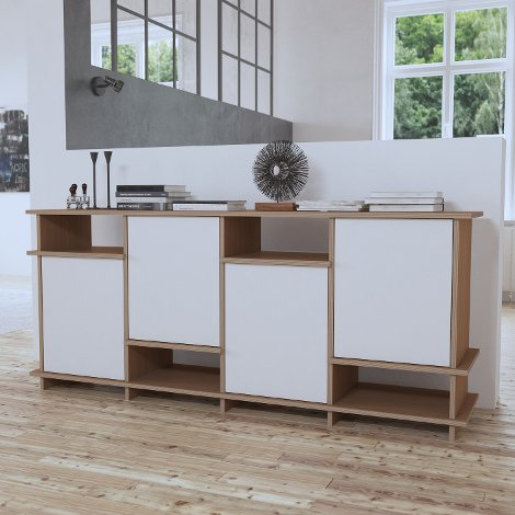 Sideboard Lina - Designer custom made sideboard brown wood white doors