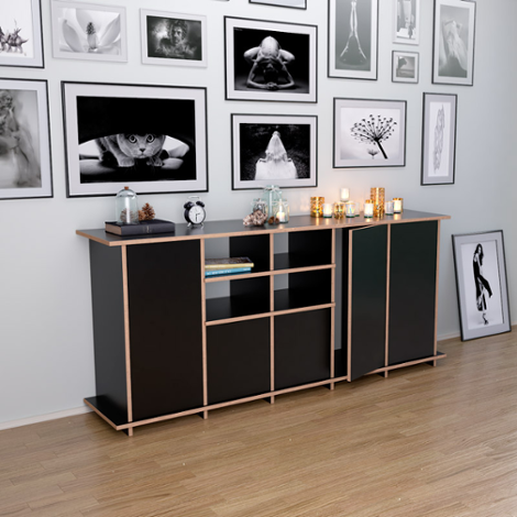Sideboard Jara - Designer custom-made sideboard black with doors