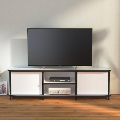 TV-Bank Retra - Designer-TV-Bank nach Maß weiß mit schwarzen Kante