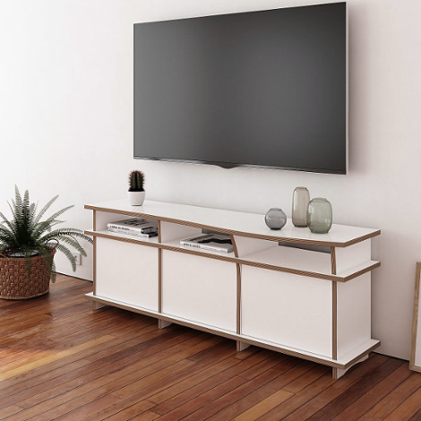 TV bench Pure - Designer TV bench made to measure white with doors
