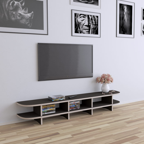 TV-Bank Classic - Designer-TV-Bank nach Maß braun Holz weiße Türen