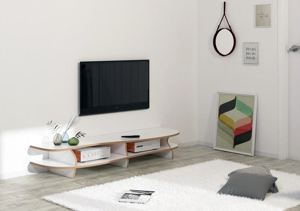 TV-Lowboard White Carpet