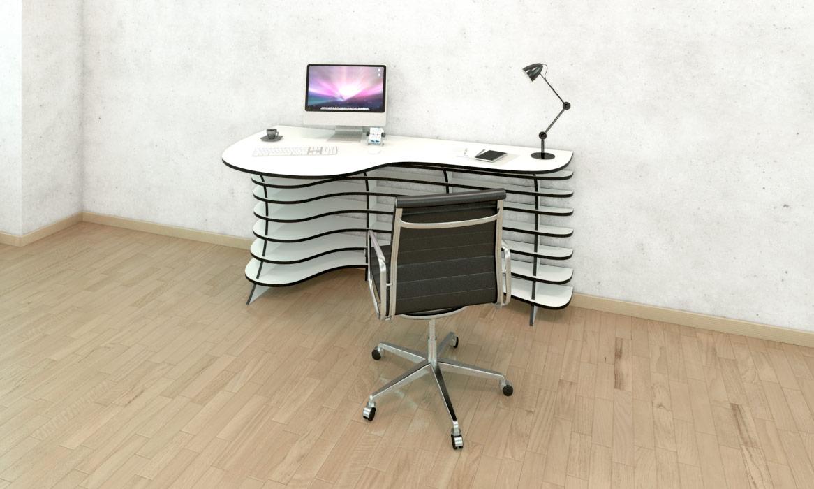 exceptional einfache dekoration und mobel der perfekte schreibtisch #3: Geschwungener Schreibtisch mit Schreibtischstuhl